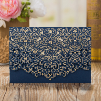2018Luxury rectangle navy blue laser cut wedding invitation card engagement invitation for wholesale