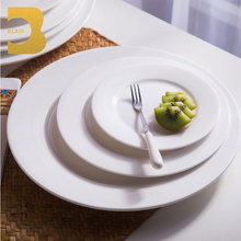 "wholesale ceramic hotel and restaurant wedding banquet event catering white bone china 12""14"" round flat dinner plate"