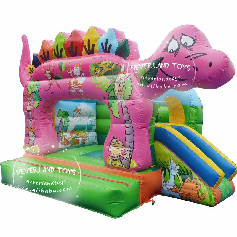 Girls Pink Inflatable Dinosaur Bouncy Castle With Small Slide Inflatable Bouncer Jumper