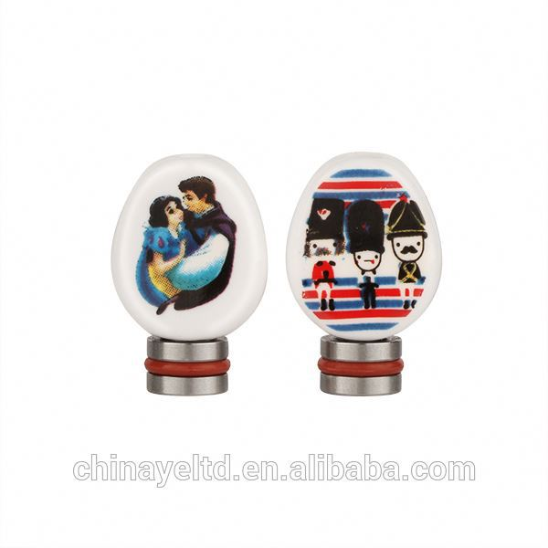 The Snow White and soldier ceramic flat drip tip for 510 ego ce4 atomizer of e cigs