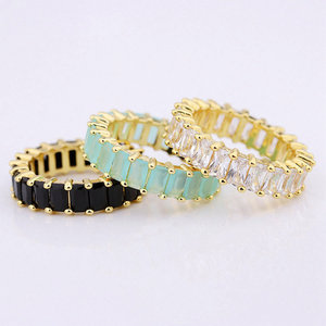 fashion color baguette cut cubic zirconia eternity ring