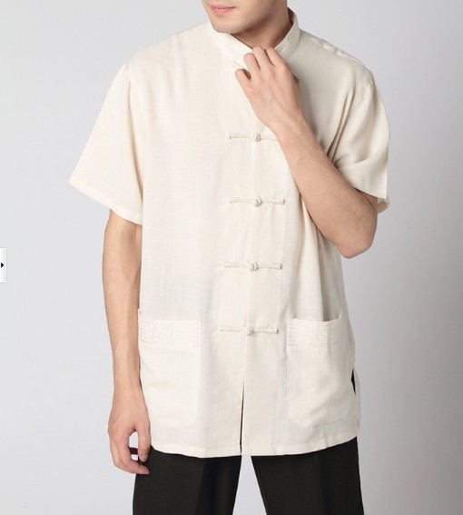 Chinese men/'s Kung Fu shirt tops Beige SZ M L XL XXL XXXL