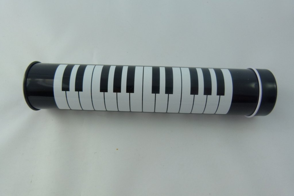 Music Themed 12 Colour Pencils In Metal Tin Tube - Black Keyboard Design