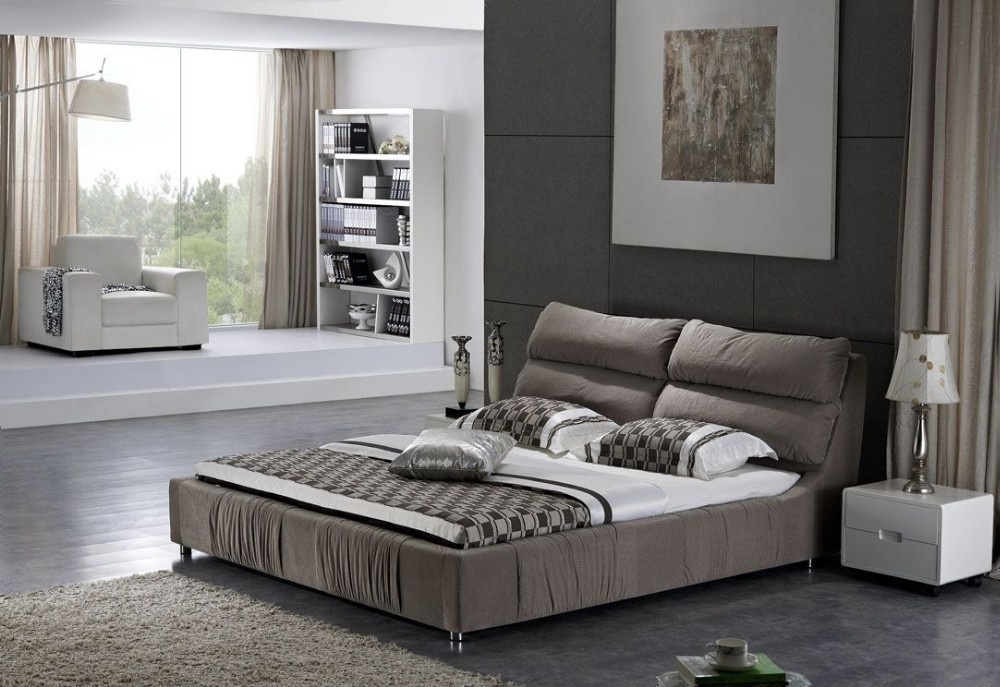Fashion Modern Bed Designs Bed Room Elegant Black Color Modern Furniture Bed Set