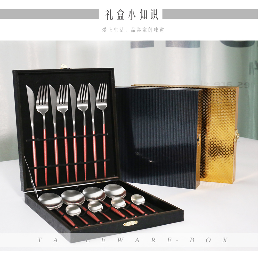 24pcs matte gold plated cutlery set white/black/pink handle in wooden box