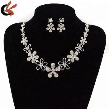 Silver Clear Indian Costume Jewellery Necklace Earrings Crystal Set New Bridal Rhinestone Jewelry Artificial