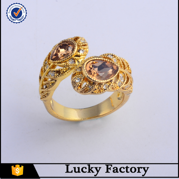 Dubai new design gold ring crystal diamond rings luxury kate princess ring