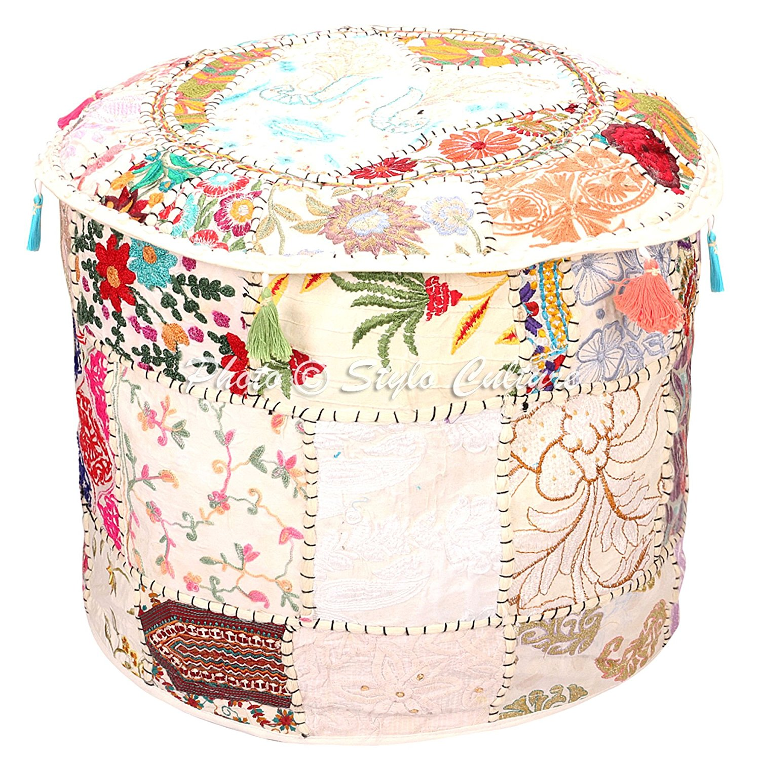 Embroidered Ottoman Stool Pouf Cover 18x18x13 Cotton Patchwork Embroidered Ottoman Stool Pouf Cover Turquoise Green Floral Hassock Pouffe Case Footstool Floor Cushion Cover Ethnic Decor,Puff Cover