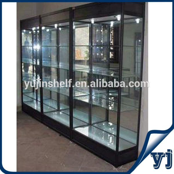 Free Standing Display Cabinets Factory Made Sliding Door Black Square Aluminum Wall 21