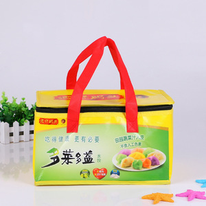 Large capacity custom promotional insulated lunch box pp non woven cooler bag