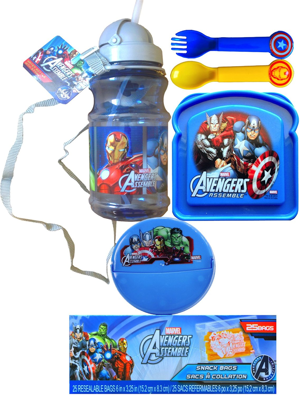 Marvel Avengers Assemble 6 Piece Lunch Kit Includes Water Bottle with Strap, Marvel Avengers Sandwich and Snack Container with Utensils and Marvel Avengers Snack Bags Back to School Lunch Gift Set