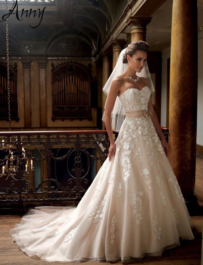 custom new appliuqe lace wedding dress china elegant a line champagne ivory color cheap princess. Black Bedroom Furniture Sets. Home Design Ideas