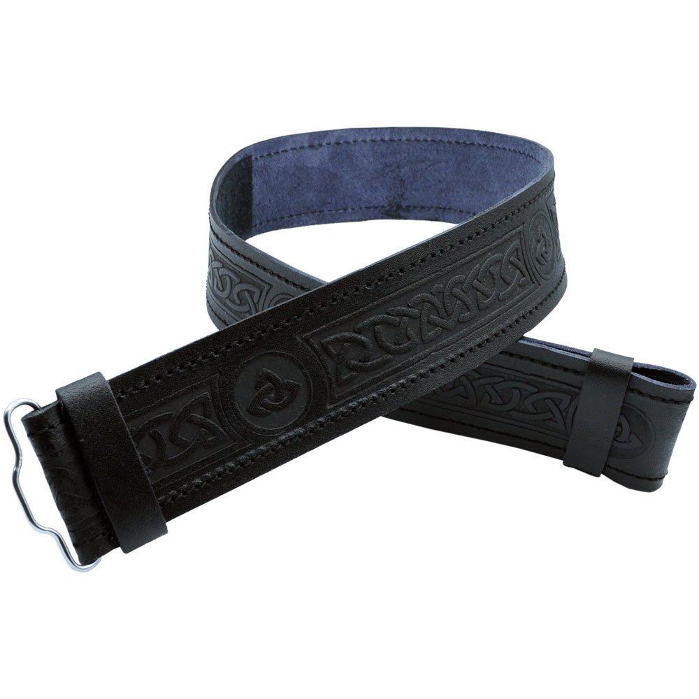 AAR Leather Kilt Belt Celtic Twist Desgin Scottish Highland Accessories All Sizes