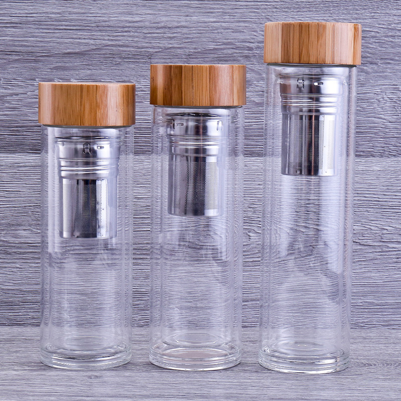 Fashion wood custom double wall borosilicate glass fruit tea infuser water filter coffee bpa bottle design,tea tumbler