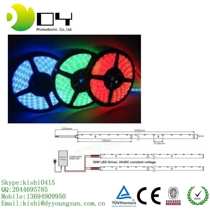 Tira de LED Flexible 100 M impermeable IP65 300 LED 5 M SMD 5050 RGB luz de Color rojo/Verde/ azul/amarillo blanco frío blanco caliente 60 leds/M
