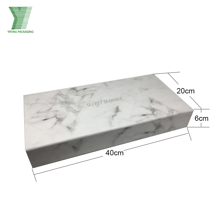 Luxury Custom Design Weiß Magnetische Platz Buchen Form Karton Marmor Muster Geschenk Verpackung Box
