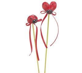 "Burton & Burton (2) Red & Black Resin Lady Bug 9"" H Garden Picks"