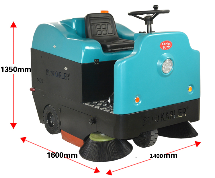 Hot sale KL1400 heavy duty ride on street sweeper