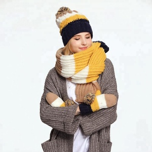 ffe7aa8a353 Wholesale customized knitting hat and scarf sets scarf hat glove sets
