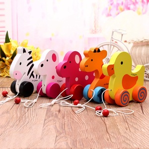 FQ brand Wooden toys Rabbit Knock the Drum Drag Car Creative Educational Push and Pull Toy for Baby Toddlers