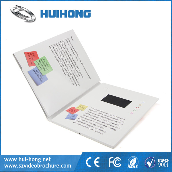 Video in print card brochure card screen / video cards booklet with tft lcd /led display