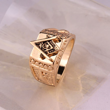 Men Masonic Ring 18K Gold Plated 316L Stainless Steel With Vintage Master Gold Biker for men