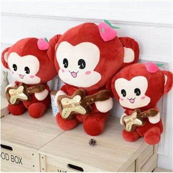monkey pattern plush valentine day gift cuddly collection big eyes red and grey soft toy
