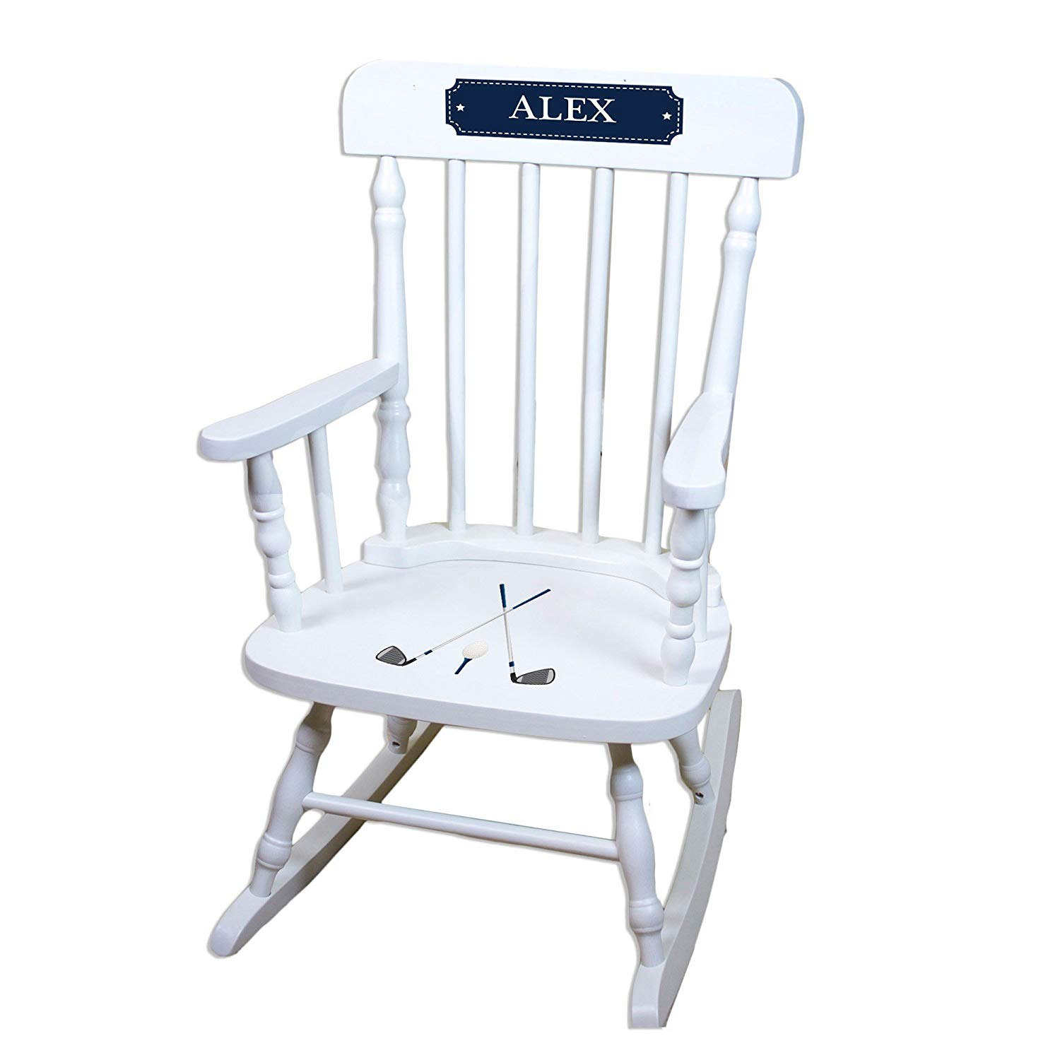 MyBambino Personalized Golf White Wooden Childrens Rocking Chair