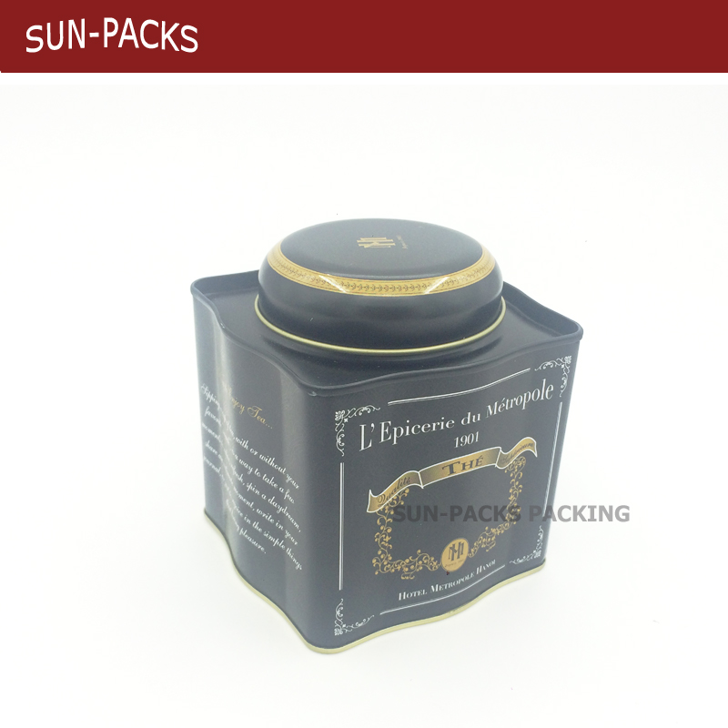 Square Black metal tea tin can /tea packaging box with inner lid