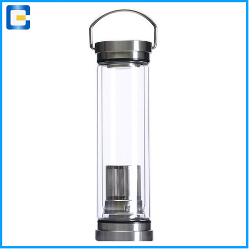 400ml eco-friendly double wall protable glass fruit infuser water bottle with bamboo screw lid cap tea filter