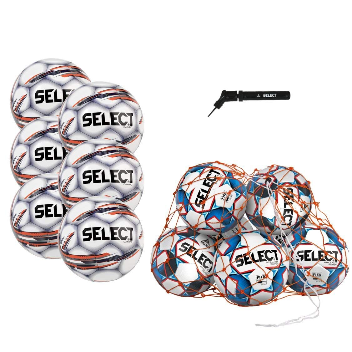 Select Campo Soccer Ball Package - Pack of 6 Soccer Balls Ball Net Hand Pump, White, Size 5