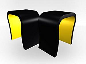 Zespoke Black Outer Curved Pair Of Lamp Tables - Yellow Gloss Inner