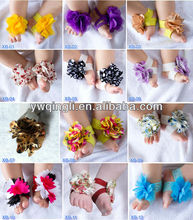 Gorgeous Baby girls barefoot sandals cute infant baby flower soft shoes