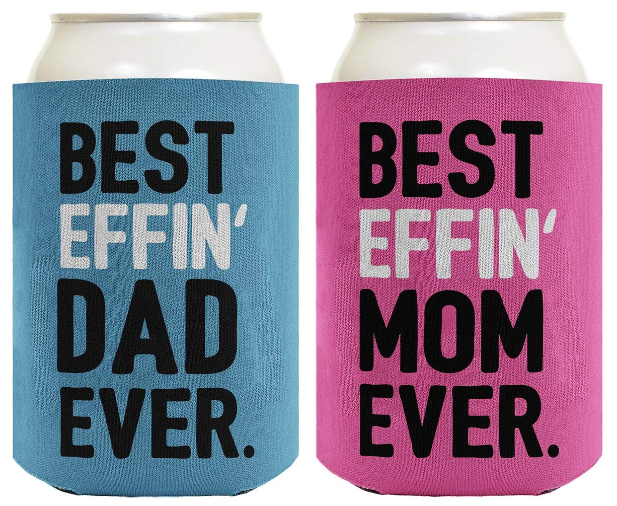 Mom Dad Gifts Best Effin' Mom and Dad Ever Funny Mom Dad Announcement Mom Dad Gift Set 2 Pack Can Coolie Drink Coolers Coolies Blue & Pink