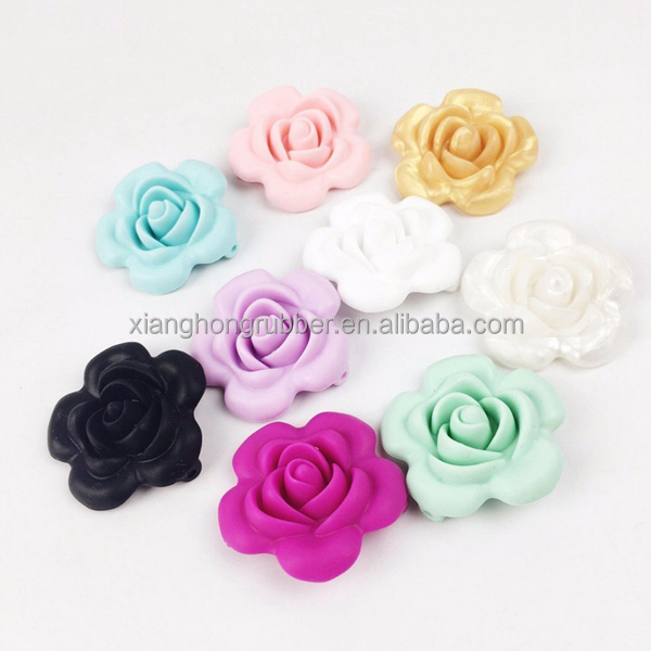 Silicone Beads Handmade Teething Flower Shaped Silicone Necklace Sensory Baby Teether Toy Diy Bracelet Mix Color