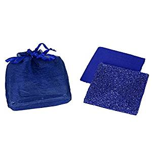 Navy Blue Beaded Square Satin Backed Coasters, Set of 6 in Organza Gift Bag