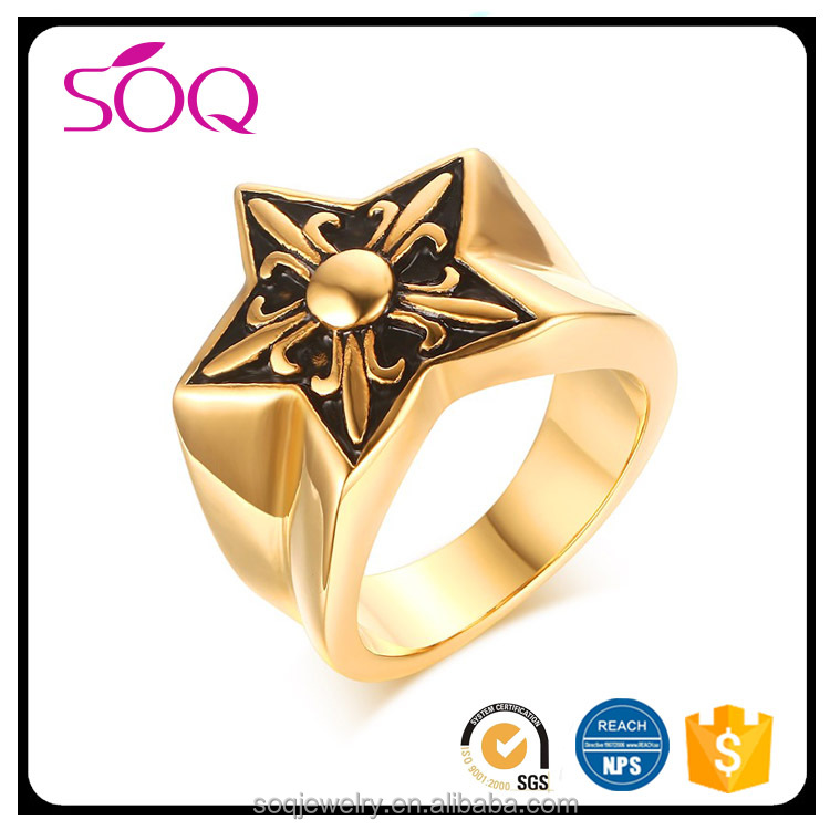 Hot wholesale personalized stainless steel five pointed star unique carving patterns gold finger ring without stone
