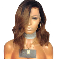 Short Wavy Wig in 2 Tones Color With Synthetic Lace Front Wig For Women