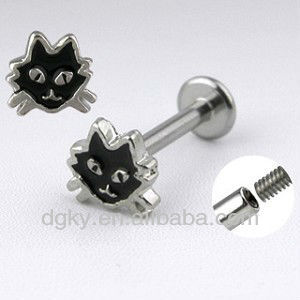 Cat face Labret 14g Surgical Stainless Steel lip rings jewelry