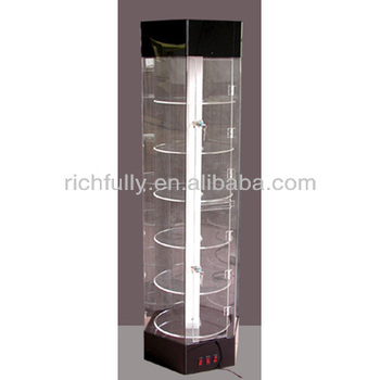 Beau Round Glass Perfume Display Cabinet With Glass Plate For Exhibition