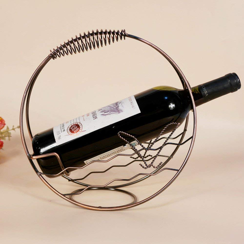 Calunce Single Bottle Holder Stand Retro Style Wine Metal Wire Rack Home