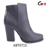back zipper crocodile PU new fashion high heel women's cusual shoes boots