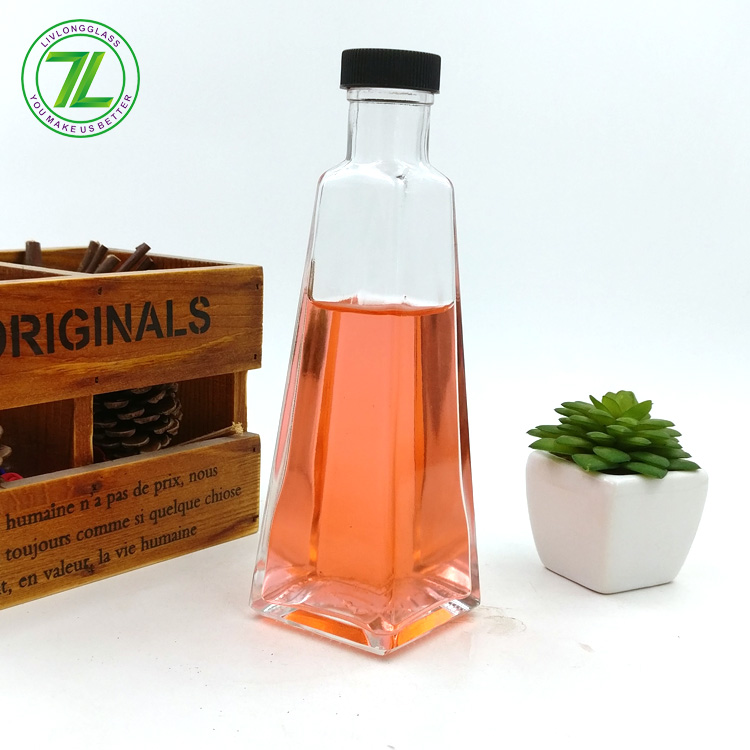 pyramid shaped 220ml aroma fragrance packaging 8oz empty diffuser oil glass bottle with screw cap