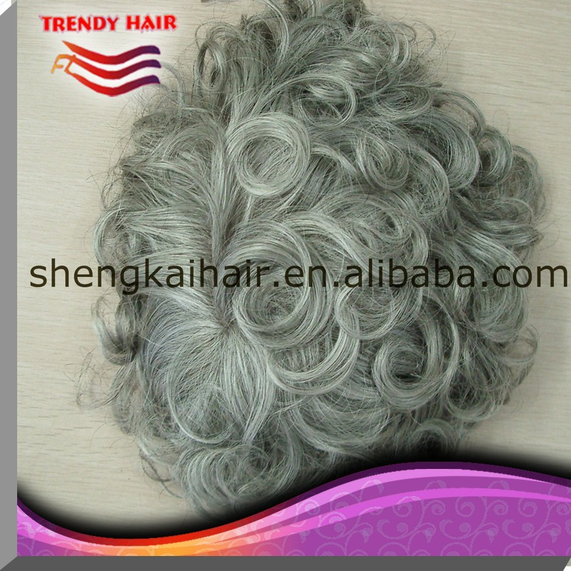Top quality toupee gray hair wig for men