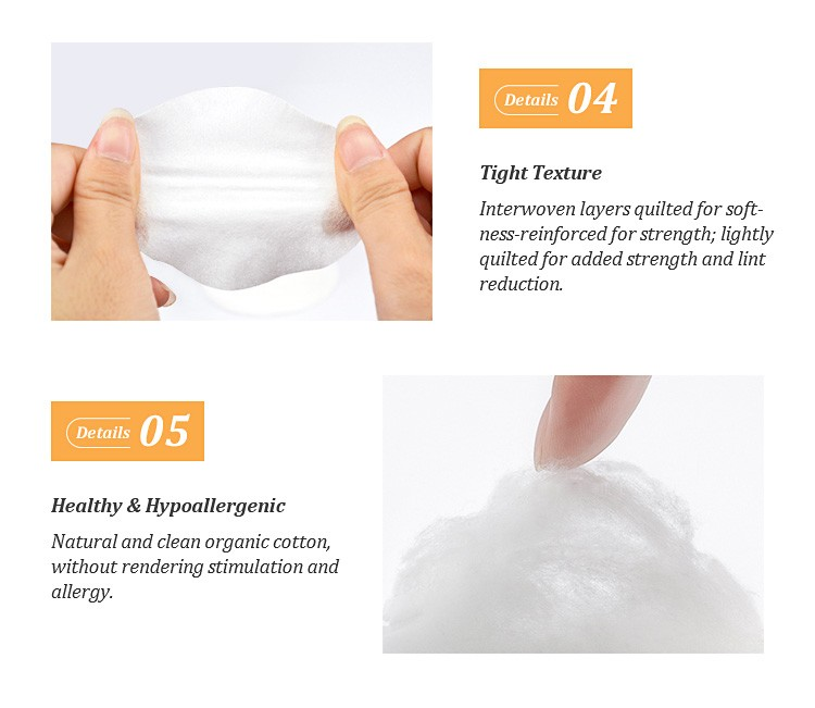 Round facial soft cotton pads makeup remover cotton pads cleansing organic unbleached cotton wool pads