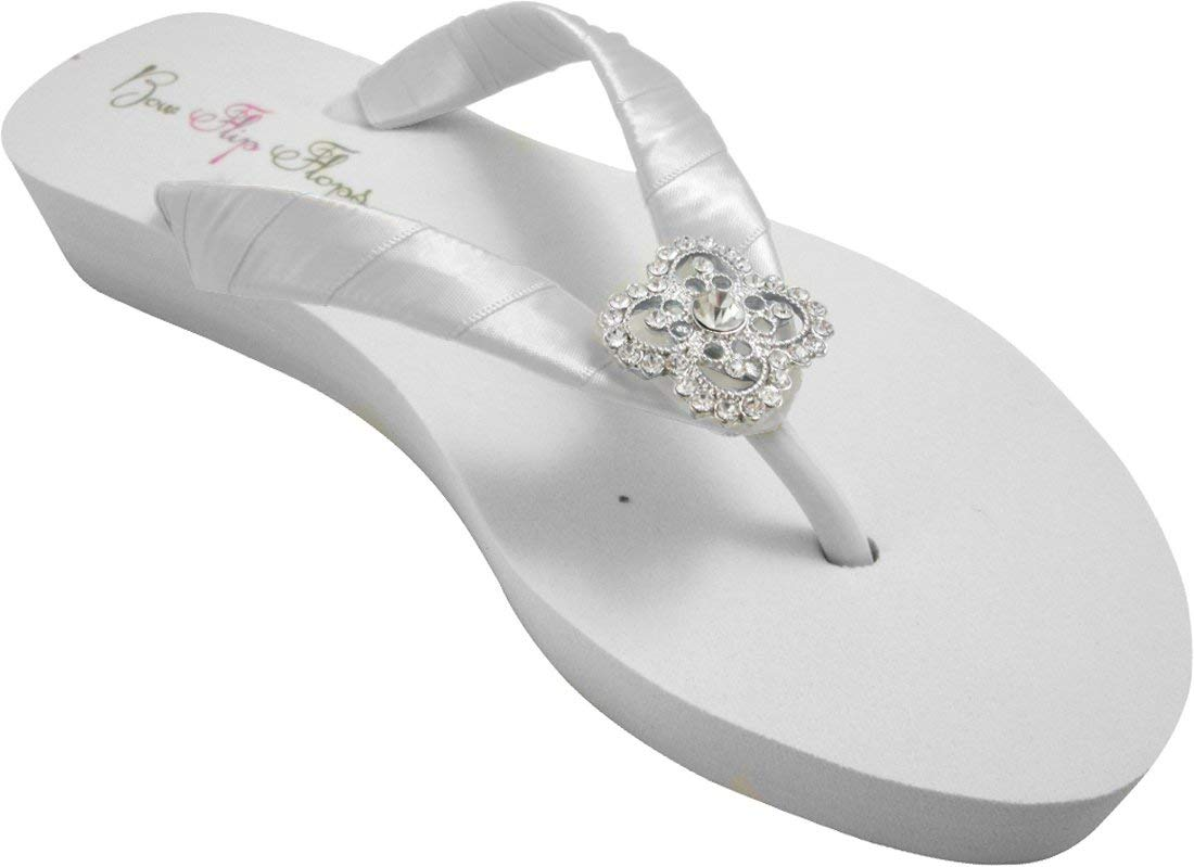 e31c53d6131 Get Quotations · Low Heel Wedge Flip Flops in Ivory or White with Square  Filigree
