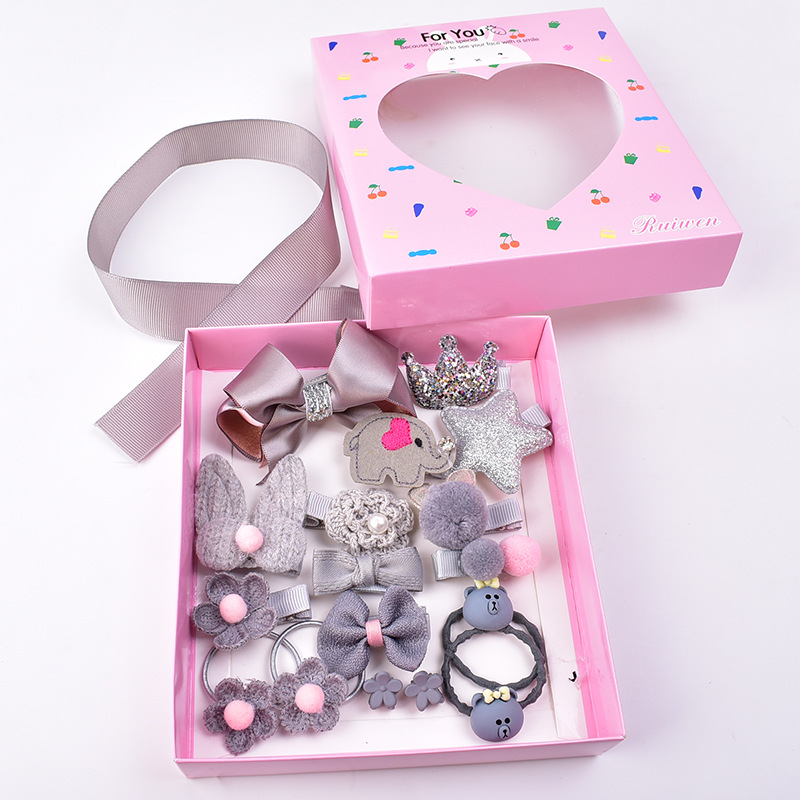 Детский набор аксессуаров для волос, тканевая Милая заколка для волос с мультяшным бантом, подарочная коробка