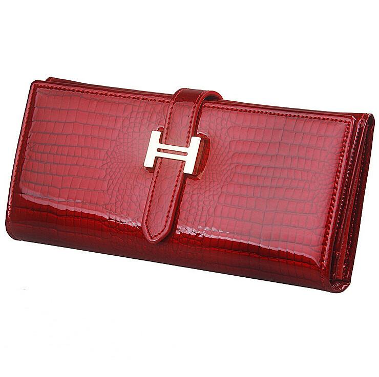New Women Purses Elegant Female Wallets Genuine Leather Wallet Las Brand Designer Crocodile Patent