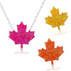 Woman Fashion Sterling Silver Jewellery Pendant Necklaces Maple Leaf Shape Opal Necklace