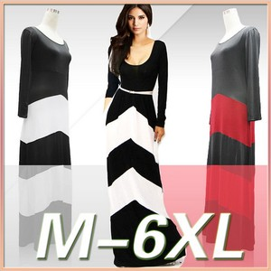 Summer stripe muslim dress black and white long sleeves xxl size women casual dress dropshipping new design
